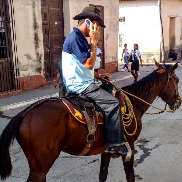 Man talking on cell phone while riding a brown horse